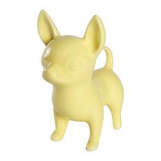 Standing Chihuahua Ceramic Statue, Glossy Yellow