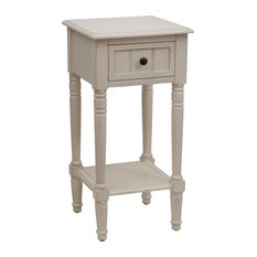 Decor Therapy   Simplify Accent Table With Drawer, Antique White   Side  Tables And End