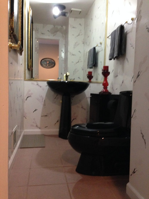 We Are Re Designing Our 80 S Powder Room Which Curly Has Black Kohler Pedestal Sink And Toilet Decor Style Is Contemporary Transitional With Greys