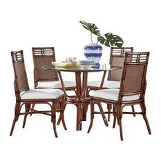 Palm Cove 6-Piece Dining Set W/Glass Sunbrella Canvas Heather Beige