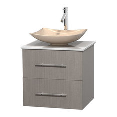 "Centra 24"" Gray Oak Vanity, White Stone Top, Arista Ivory Marble"