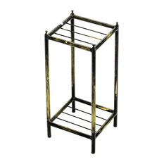"17"" Gray Stone Slab 2 Tier Small Square Cast-Iron Plant Stand"