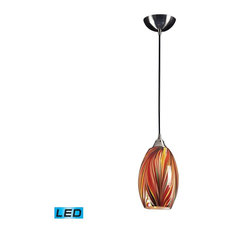 Multi colored glass pendant lights houzz elk group international mulinello 1 light led pendant satin nickel with multi colors swirled aloadofball Images