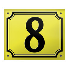 "Number ""8"" Enamelled Wall Plaque, Yellow, Double Border"