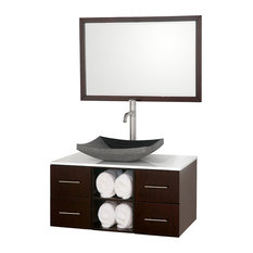 "Wyndham Collection 36"" Abba Single Sink Vanity, Espresso With White Glass Top"