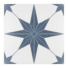 "9.75""x9.75"" Cilento Porcelain Floor and Wall Tile, Set of 16, Azul"