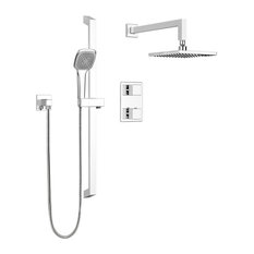 Square Shower Faucet With Thermostatic Diverter Valve, Sliding Bar, Shower Head