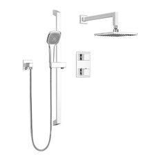 Square Shower Faucet With Thermostatic Diverter Valve, Sliding Bar, Shower Head,