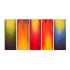 "Hand Painted ""Paintbrush Panels of Color"" 5-Piece Set Oil Painting"