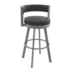 Browser Swivel Metal Stool, Glossy Gray Metal/Black Faux Leather, Counter Height