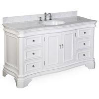 "Katherine 60"" Bath Vanity, White, Carrara Marble, Single Vanity"