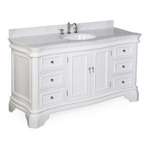 "Katherine 60"" Bath Vanity, Base: White, Top: Carrara Marble, Single Vanity"