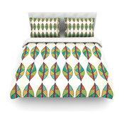"""Pom Graphic Design """"Tribal Leaves"""" Duvet Cover, Cotton, King"""