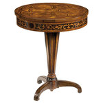 """Inviting Home Inc. - Louis Xvi-Style Inlaid Table - Louis XVI style round wood table inlaid with walnut olive burl and boxwood 23-3/4""""W x 23-3/4""""D x 28""""H hand-made in Italy Louis XVI style round wood table. Louis XVI table inlaid with walnut olive burl and boxwood. This occasional table is hand-crafted in Italy."""