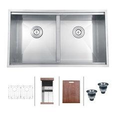 """Ruvati - Ruvati RVH8350 Undermount 16 Gauge 33"""" Kitchen Sink Double Bowl - Kitchen Sinks"""