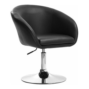 Modern Bar Stool Upholstered, Faux Leather With Armrest and High Back, Black