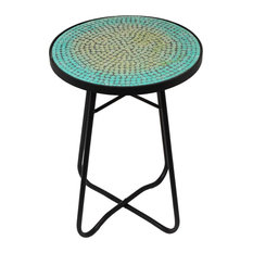 Good Urban Designs, Casa Cortes   Urban Designs Mosaic Turquoise Round Accent  Table   Side Tables