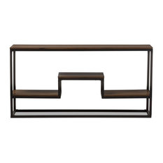 Doreen Rustic Textured Finished Metal Distressed Wood Console Table
