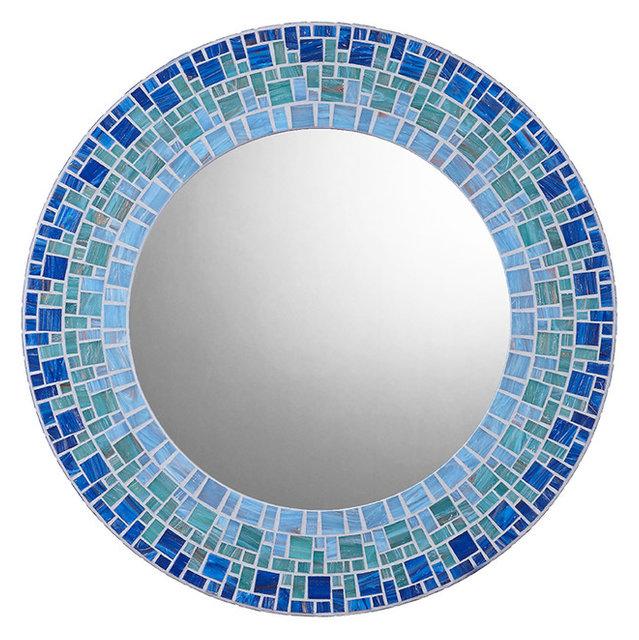 Free Shipping 4pcs Shell Pearl Beach Wall Painting Print: Coastal Glass Mosaic Round Mirror, Handmade