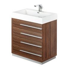 "Livello 30"" Walnut Vanity, Medicine Cabinet Bevera Chrome Faucet"