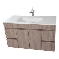 "Strato Wall Mounted Bathroom Vanity Cabinet Set With Single Sink, Estepa, 40"""