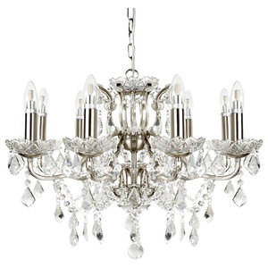 Paris Clear Crystal Drops and Trim 8-Light Chandelier, Satin Silver