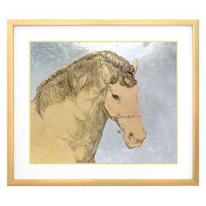 """""""Mongolian Horse"""" Framed Foil Print, 77x67 cm"""