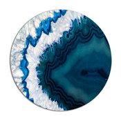 "Blue Brazilian Geode, Abstract Round Metal Wall Art, 23"""