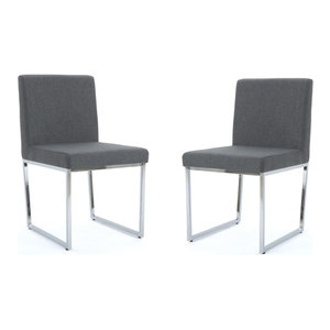 GDF Studio Dione Fabric Dining Chair With Chrome Legs, Charcoal, Set of 2