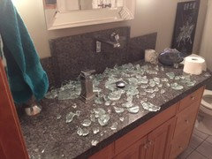 My Powder Room Krauss Vessel Sink Just Blew Up. I Thought Someone Broke My  Front Door Glass. Hundred Of Pieces Everywhere. Couldnu0027t Believe How Loud  It Was.