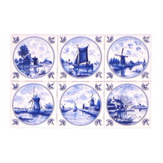 Delft Kiln Fired Ceramic Tiles Blue Wind Mill Ships Dutch Houses, 6-Piece Set