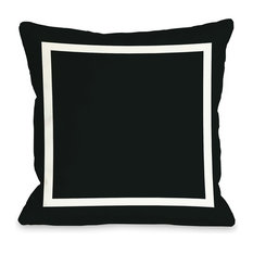 """Samantha Square"" Outdoor Throw Pillow by OneBellaCasa, Black, 18""x18"""