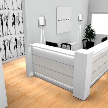 Valde L-Shaped Reception Desk, White by MDD Furniture
