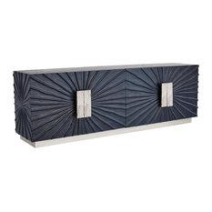 Luxe Modern Black Silver Sunburst Media Cabinet Long Console Pleated Buffet