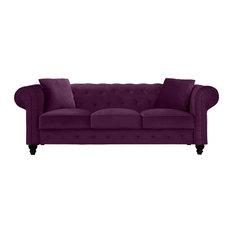 Sofamania   Traditional Velvet Upholstered Chesterfield Sofa With Accent  Pillows, Purple   Sofas