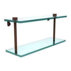 "16"" Double Glass Shelf, Antique Bronze"