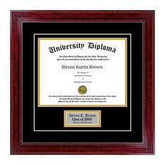 """Personalized Single Diploma Frame with Double Matting, Sport Cherry, 11""""x14"""""""