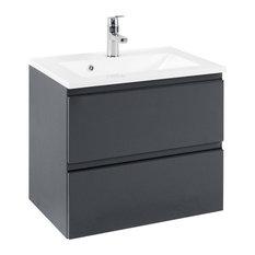 Cardiff Bathroom Vanity Unit, Glossy Grey and Graphite Grey, 60 cm