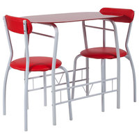 Sutton 3-Piece Space-Saver Bistro Set With Glass Top Table, Red
