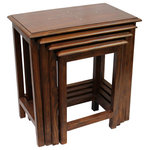 Natural Geo - Natural Geo Decorative Set of 4 Nesting Tables - Rectangular - *Finished and polished for a clean look