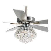 Modern Chrome Crystal Ceiling Fan With Lights and Remote Control, 5 Blades