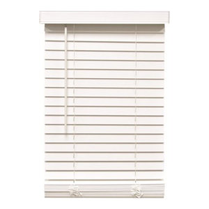 """2"""" Faux Wood Mini Blinds With Contemporary Valance, White, 24""""x72"""""""