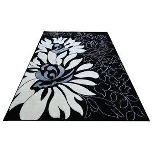 Miami 9 Rug, Black and Off White, 160x220 cm