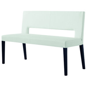 Bloom White Leather Bench