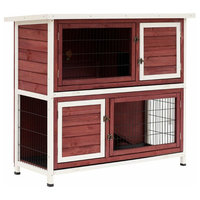 "PawHut 48"" 2-Story Elevated Stacked Wooden Rabbit Hutch Small Animal Habitat"