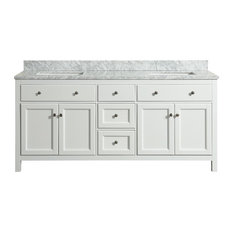 Devon White Bathroom Vanity With Marble Top, 72''