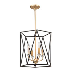 Harmony 4-Light Chandelier, Black and Satin Brass