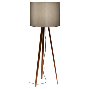 Luca Stand Floor Lamp, Smoked Oak and Grey Lampshade