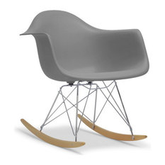 ... Dario Gray Plastic Mid-Century Modern Shell Chair - Rocking Chairs