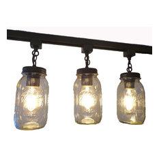 Most popular farmhouse track lighting for 2018 houzz the lamp goods mason jar track light trio quarts antique black track lighting aloadofball Choice Image